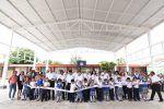 Inaugura Ayuntamiento porteño techumbre metálica en la primaria José María Morelos
